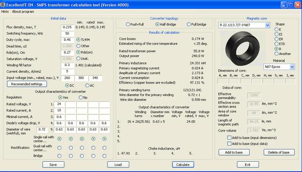 Дата добавления:13.10.2011.  Lite-calcIT Расчёт импульсного трансформатора двухтактного преобразователя (Версия...